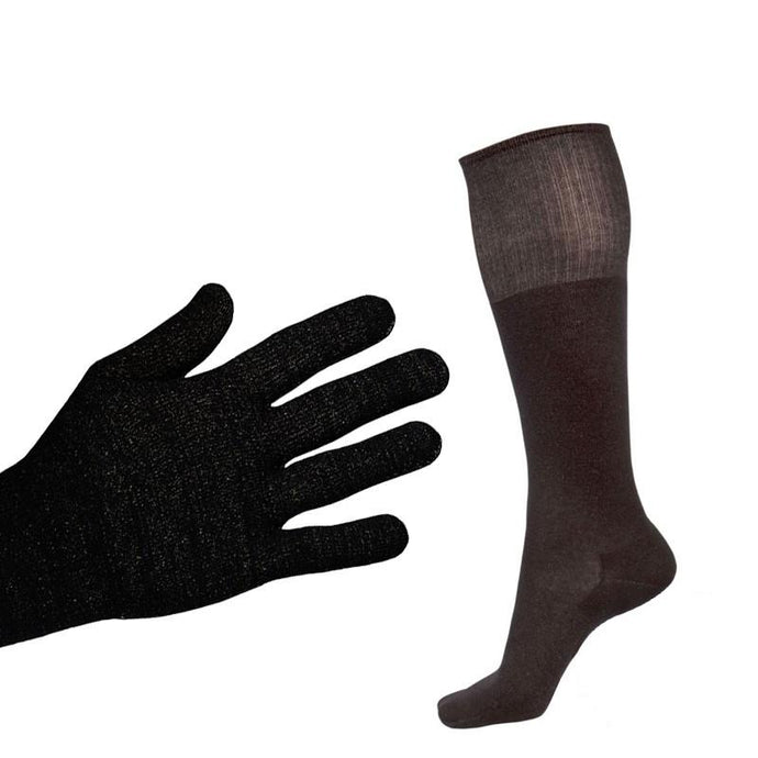 Bundle - Deluxe 12% Silver Sclero Gloves and Black 12% Long Silver Socks