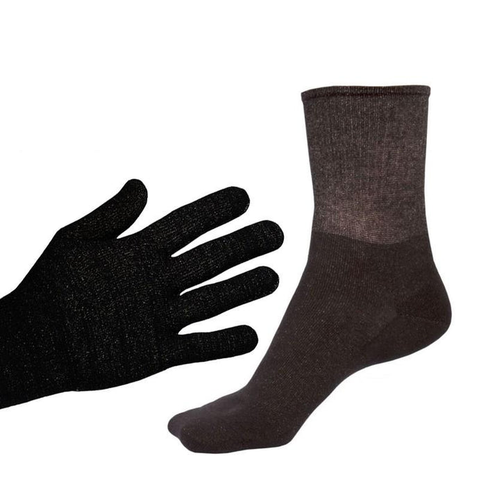 Bundle - Deluxe 12% Silver Sclero Gloves and Black 12% Short Silver Socks