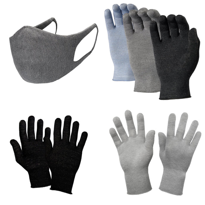 Just Silver Apparel - Bundle - Deluxe 12% Silver Gloves & Silver Face Mask - Grey