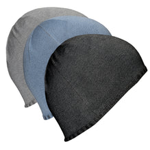 Load image into Gallery viewer, Just Silver Apparel - Deluxe 12% Silver Medical Beanie Hat - Grey/Black/Blue