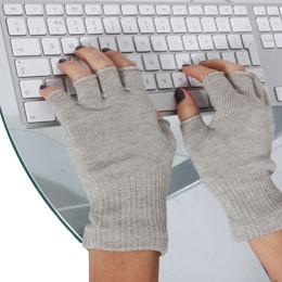 Just Silver Apparel - 8% Silver Fingerless Gloves Silver Grey