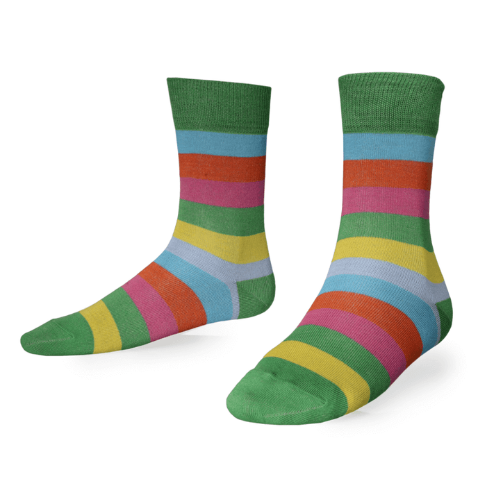 Just Silver Apparel - Silver Socks - Short 9% Silver Socks - Multi Colour Stripe
