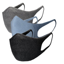 Load image into Gallery viewer, Just Silver Apparel - Deluxe 10% Silver Face Mask - Grey/Black/Blue - Silver Inside