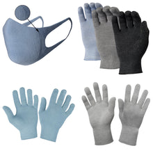 Load image into Gallery viewer, Just Silver Apparel - Bundle - Deluxe 12% Silver Gloves & Silver Face Mask - Blue