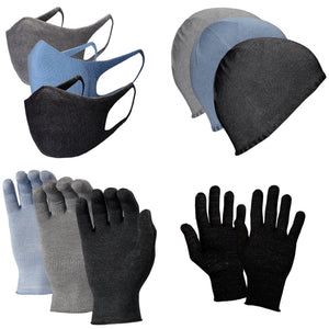 Just Silver Apparel - Bundle - Deluxe 12% Silver Gloves & Face Mask & Beanie - Grey/Black/Blue