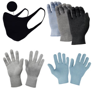 Just Silver Apparel - Bundle - Deluxe 12% Silver Gloves & Silver Face Mask - Black