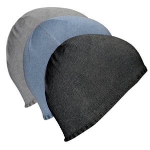 Just Silver Apparel - Bundle - Deluxe 12% Silver Beanie Hat - Grey/Black/Blue