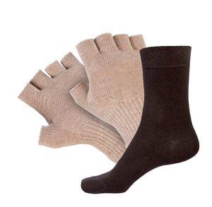 Just Silver Apparel - 8% Silver Fingerless Gloves and 9% Short Silver Socks