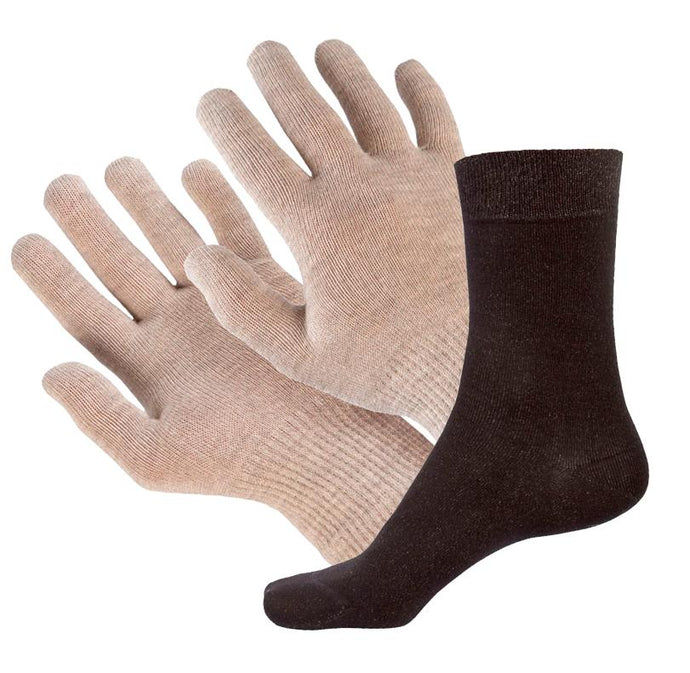 Bundle - 8% Silver Sclero Gloves and Black 9% Short Silver Socks