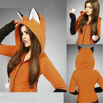 Fox With Ear Sweatshirt Women Hoodie Long Sleeve