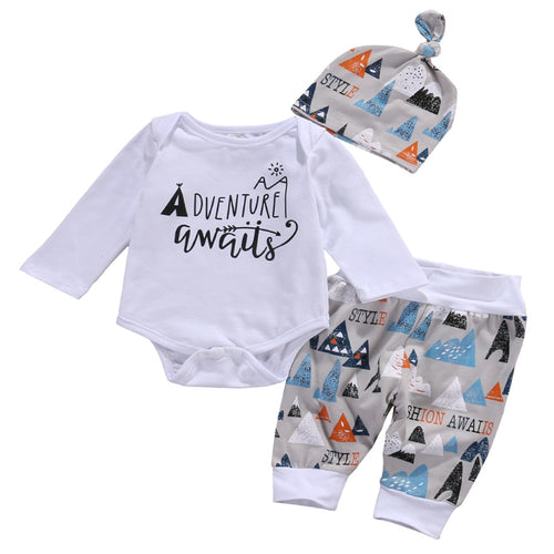 3 Pcs Toddler Baby Boys Clothing Sets Color Blocks Pants +Beanie Hat