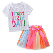 "Load image into Gallery viewer, ""Happy Birthday"" Colorful Rainbow Tutu Skirt Set (18M- 6 years)"