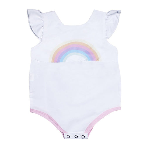 Baby Girls Sleeveless Round Collar Cute Bodysuit