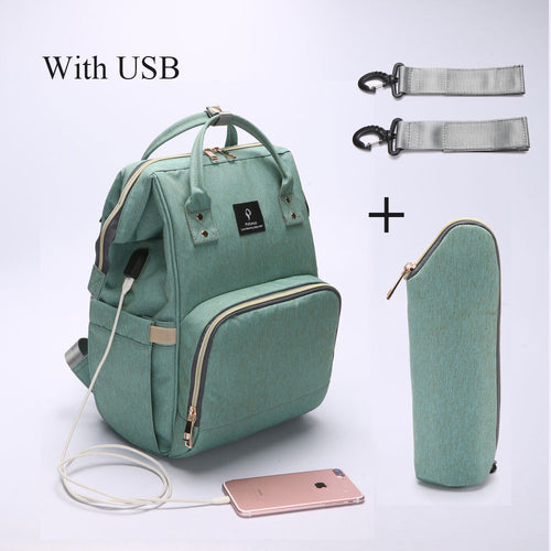 Diaper and Nursing  Bag With USB Interface Large Capacity Waterproof Backpack/ Handbag
