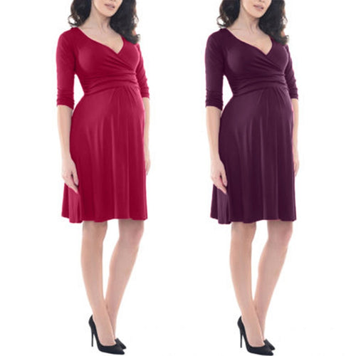 Women's Maternity Solid Color 3/4 Sleeve V-Neck Formal Dress Pregnancy Clothes