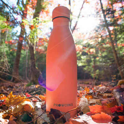 A Proworks Water Bottle in the Forest
