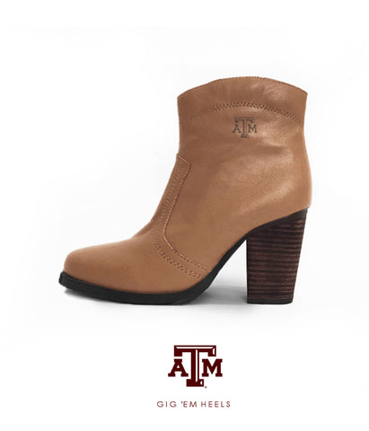 Texas A&M Gig 'Em Heels - Short Boot Light Brown