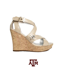 Texas A&M Gig 'Em Heels - Aggie Wedge in Light Nude
