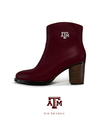 Texas A&M Gig 'Em Heels - Short Boot Maroon