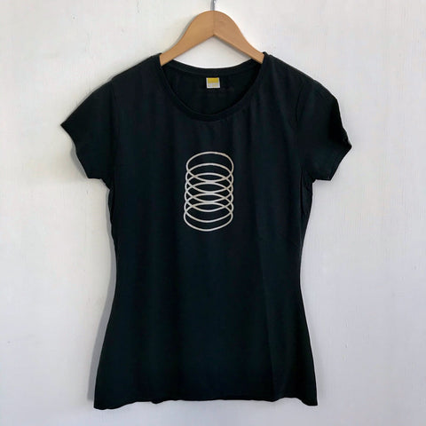 Women Tshirt Bamboo Cotton Slinky Black