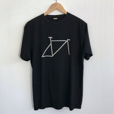 Men's Black Bamboo and Cotton super soft Tshirt with Bike Frame graphic