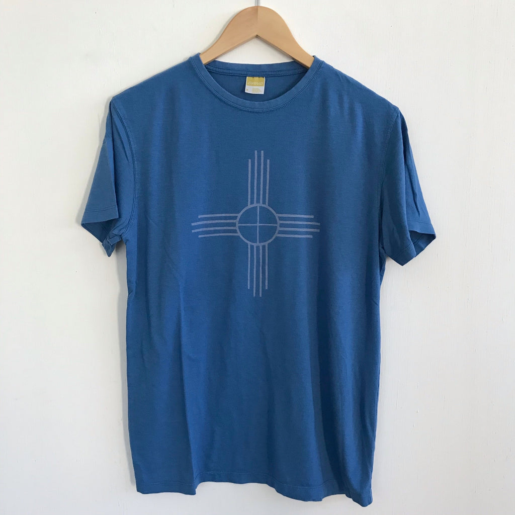 Men Tshirt Bamboo Cotton Zia Blue