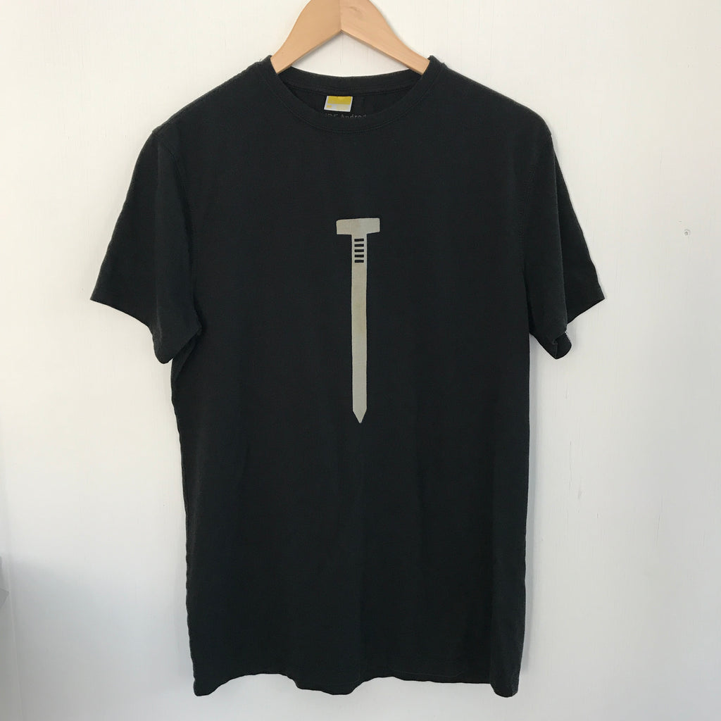 Uber soft men's t shirt made of bamboo and cotton with a silk screened image of a nail.