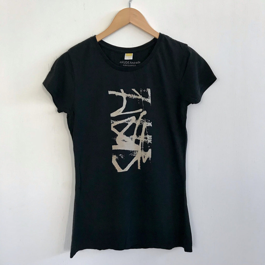 Women Tshirt Bamboo Cotton Caligraffiti Black