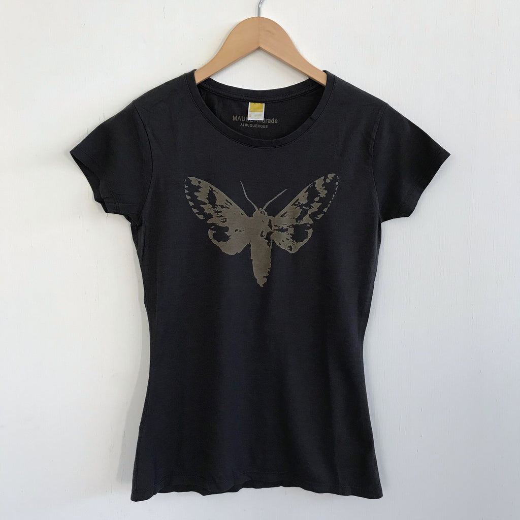 Women Tshirt Bamboo Cotton Moth Charcoal Blue