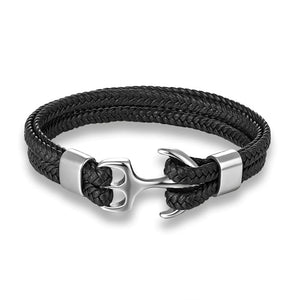 Men's Leather Anchor Bracelet