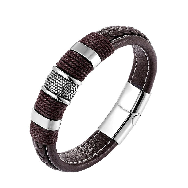 Men's Weave Leather Steel Bracelet