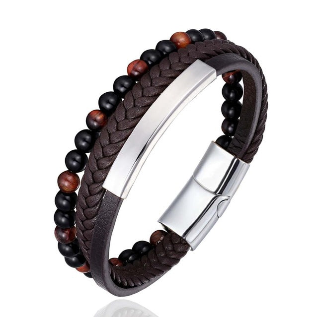 Men's Braided-Beaded Leather Bracelet