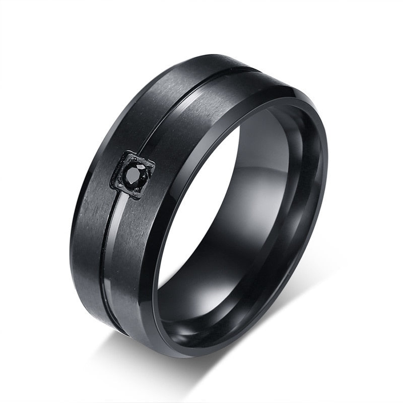Men's Titanium Crystal Ring