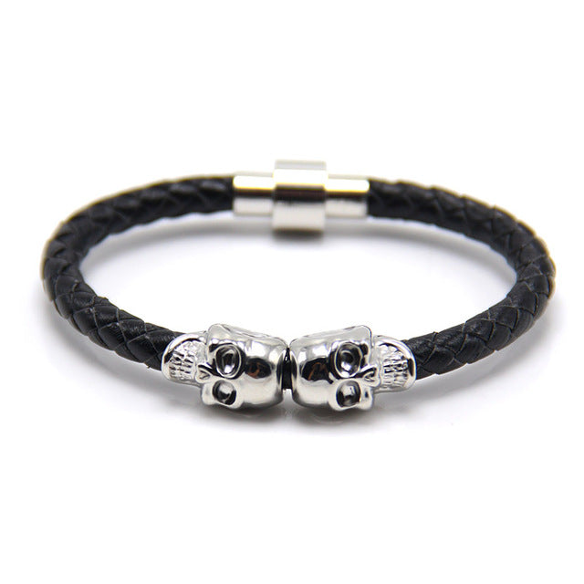 Men's Skull Leather Bracelet