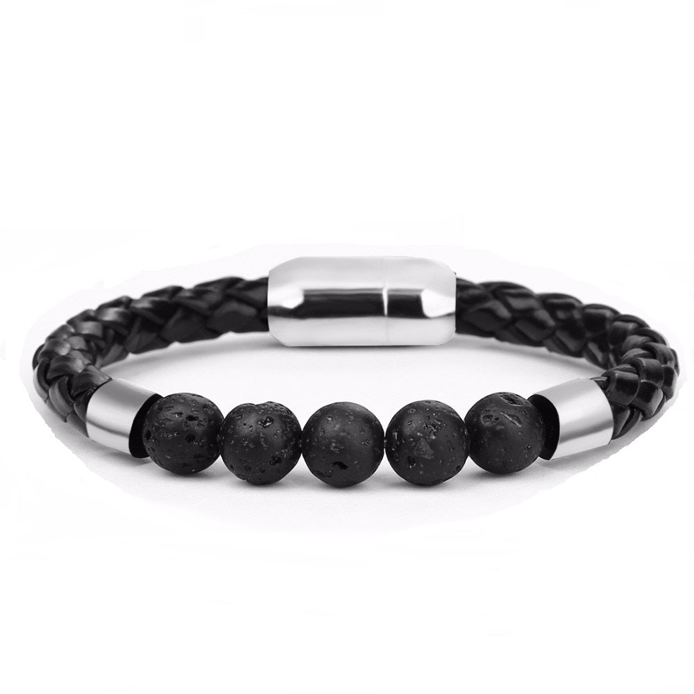 Men's Braided-Beaded Bracelet