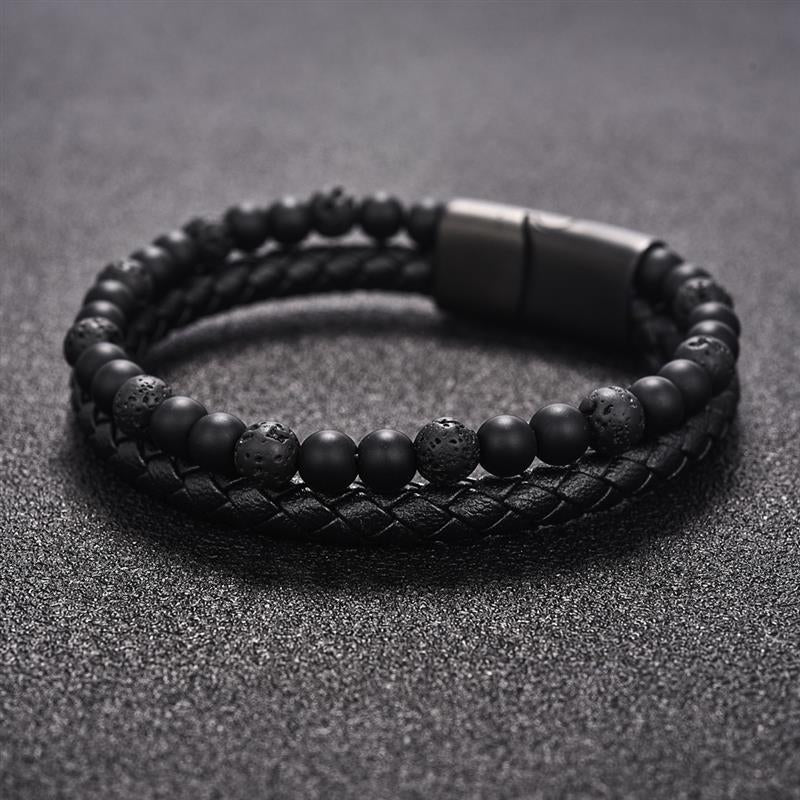 Men's Dual Braided-Beaded Bracelet