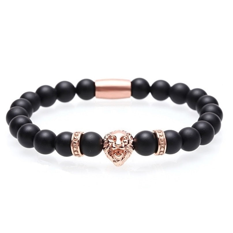 Men's Lion Charm Beaded Bracelet