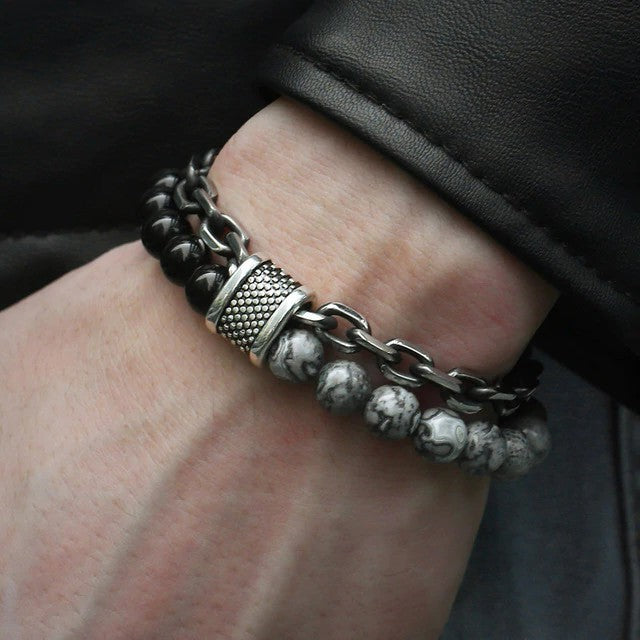 Men's Beaded Stainless Steel Bracelet