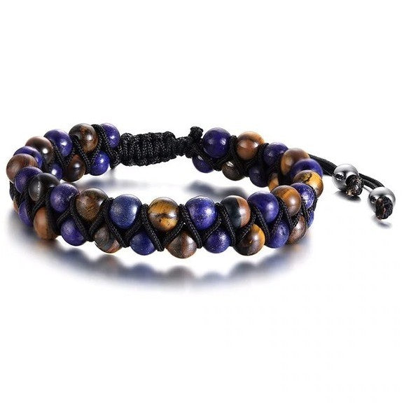 Men's Adjustable Natural Stone Bracelet Set