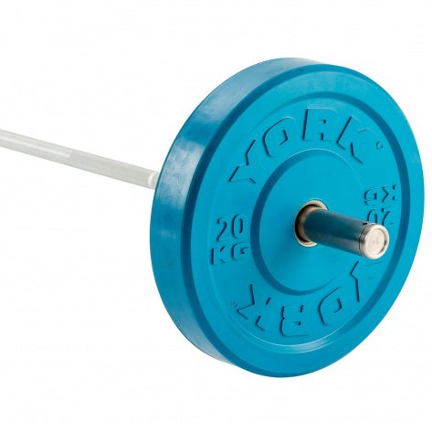 YORK 20KG SOLID RUBBER COLOURED BUMPER PLATE | BLUE (X1) CLICK & COLLECT ONLY