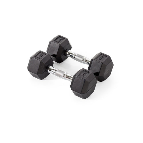YORK 5KG RUBBER HEX DUMBBELLS (PAIR) | CLICK & COLLECT ONLY