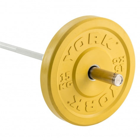YORK 15KG SOLID RUBBER COLOURED BUMPER PLATE | YELLOW (X1) CLICK & COLLECT ONLY
