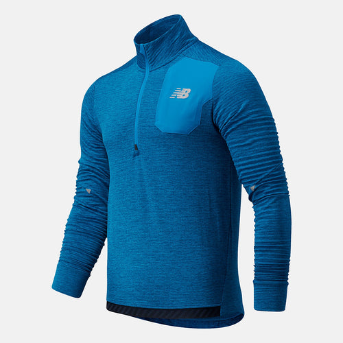 NEW BALANCE MENS HEAT GRID 1/2 ZIP | WAVE BLUE HEATHER