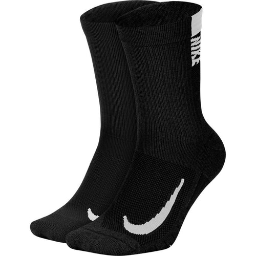 NIKE UNISEX MULTIPLIER CREW 2 PK SOCKS | BLACK