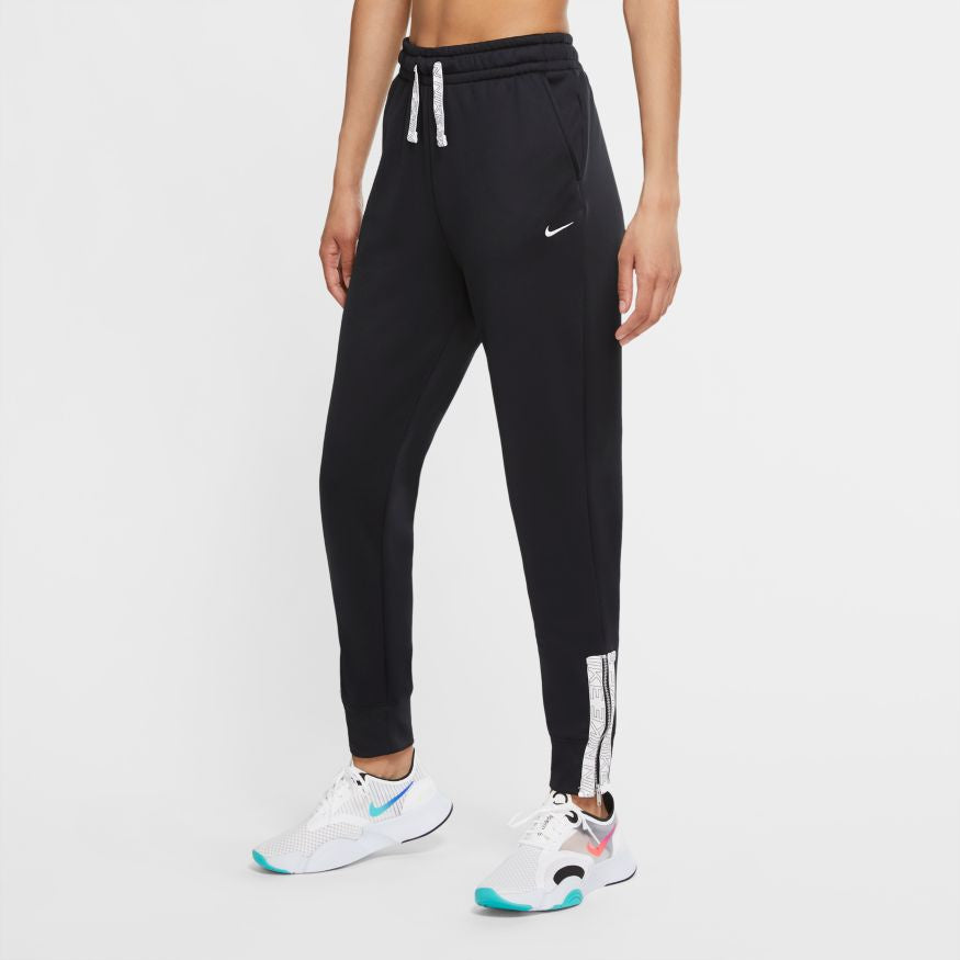 NIKE WOMENS THERMA ZIP TAPE PANT | BLACK/WHITE