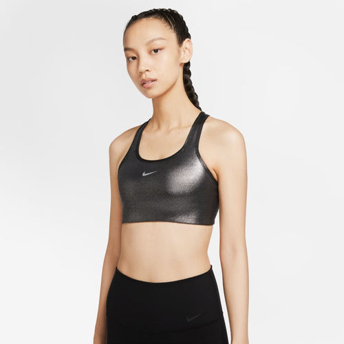 NIKE WOMENS SWOOSH ICON CLASH SHIMMER BRA | BLACK/METALLIC SILVER