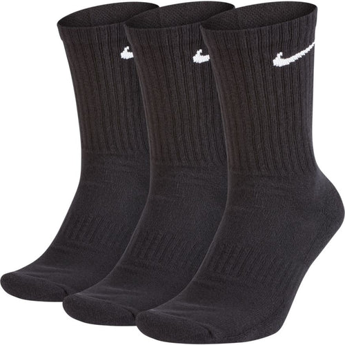 NIKE UNISEX EVERYDAY CUSHIONED TRAINING CREW SOCKS 3PACK | BLACK