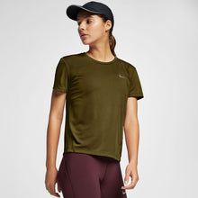 Load image into Gallery viewer, NIKE WOMENS MILER SHORT-SLEEVED RUNNING TOP | OLIVE FLAK