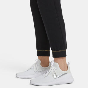NIKE WOMENS ICON CLASH FLEECE PANT | BLACK / METALLIC GOLD