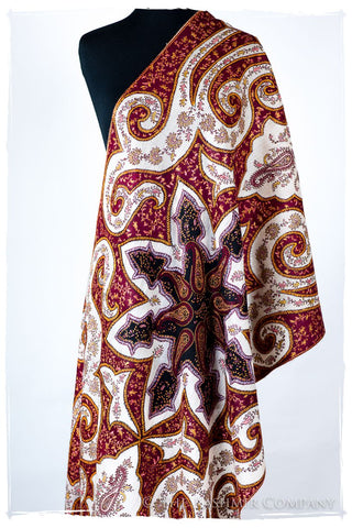 The Mona Lisa Bordeaux Blanc Deux Shawl